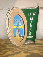 VINTAGE 30'S STYLE BEACON TIRES SERVICE DISPLAY SIGN GREAT GRAPHICS LIGHTHOUSE