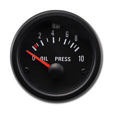 52 mm Auto Oil Pressure Gauge Black Face Black Rim Sensor Include BAR