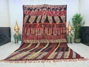 "Moroccan Boujaad Handmade Vintage Rug 6'8""x10'1"" Berber Patchwork Red Black Rug"