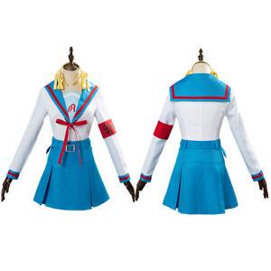 The melancholy of Haruhi Suzumiya Cosplay Costume Uniform Female Blue Dress
