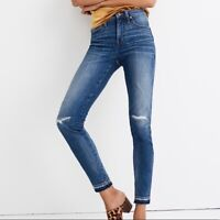"""NEW MADEWELL jeans 9"""" high rise skinny slim stretch cotton rip repair blue 26"""