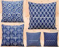 Indigo Blue Hand block print Cotton cushion cover Ethnic Pillow Case Home Decor
