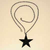 Strass  Schönheit lange Halsketten-Schwarz Big Pentagram-Stern-Anhänger-*&