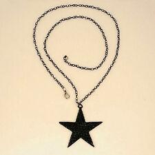 New Strass Schönheit lange Halsketten-Schwarz Big Pentagram-Stern-Anhänger