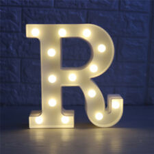 White Large Plastic Marquee Freestanding Alphabet LED Light UP Letters R
