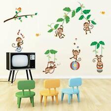Monkey & Tree Wall Decals Animal Circus Kids Wall Stickers Baby Nursery Children