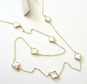 NEW Alexa & Tori Mother Of Pearl Gold Plate Sterling Silver Clover Long Necklace