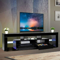 "63"" Modern TV Stand Colorful LED Light Media Storage Console Cabinet High Gloss"