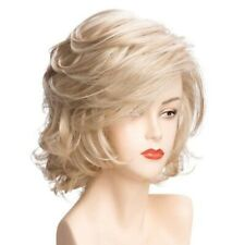 Women Short Curly Hair Full Wig Bangs Heat Resistant Synthetic Blonde Gold Wigs