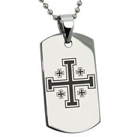 Stainless Steel Jerusalem Cross Symbol Religious Dog Tag Necklace or Keychain
