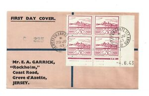 GB-CHANNEL ISLANDS-JERSEY 3d OCCUPATION BLOCK OF FOUR USED 1st DAY 29.6.1943