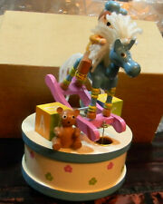Vintage Musical Wooden Rocking Horse Enesco Music Box It's a small World