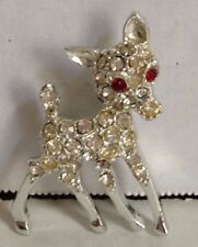 Vintage Rhinestone Deer Fawn Clear Rhinestone Body with Red Stones for Eyes Pin