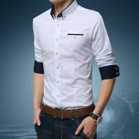 Luxury Shirt Casual Men's Stylish Fashion Long Sleeve Slim Fit Business Tops
