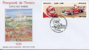 Monaco Racing Cars Stamps 2020 FDC Legendary F1 Drivers Niki Lauda Sports 2v Set