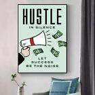 Alec Monopoly Hustle In Silence Wall Decor Poster , Alec Monopoly no Framed