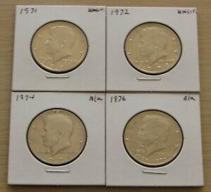 4 Kennedy Half DollarXF-Uncirculated(13P1-4)1971, 1972, 1974, 1976 Nice coins
