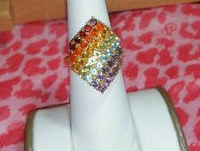 Chuck Clemency NYCII yellow gold/Sterling silver Exotic Rainbow Gemstone Ring 7