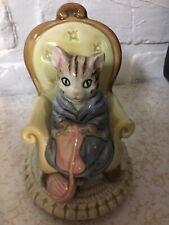 "Vtg/Rtd Otagiri Knitting Grandma Tabby Cat Musical ""Make Someone Happy,"" Mint"