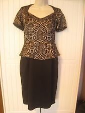 M&S Woman Size 12 Black+ Silver Grey Jacquard Peplum Dress Marks and Spencer