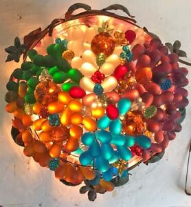 "Vintage Czech Glass Grape Fruit Lamp Cranberry Jardiniere Iron Cobra Pedestal 8"""