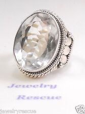 SPARKLING Clear Quartz Ring .925 Sterling Silver Size 6.5 BOLD NEW Great Gift !