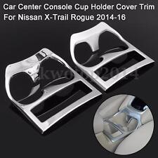 1PC Car Center Console Holder Cover Trim Chrome For Nissan X-Trail Rogue 2014-16