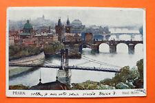 Tschechien CZ AK Prag Praha 1910-19 Künstler Setelik Stare Mesto Ort Brücken ++