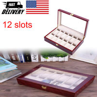 12 Slot Watch Box Organizer Watch Case Display Storage Watch Holder with Glass