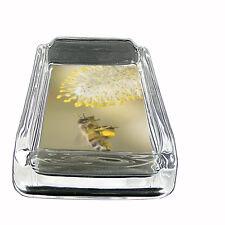 "Bee Glass Ashtray D4 4""x3"" Honey Swarm BumbleBee Winged Insect Bug"