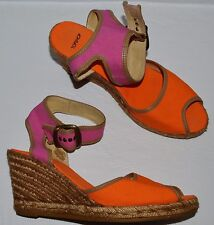 TOPSHOP SZ 9 M 40 PINK ORANGE CANVAS ESPADRILLE PLATFORM WEDGE HEEL SANDALS