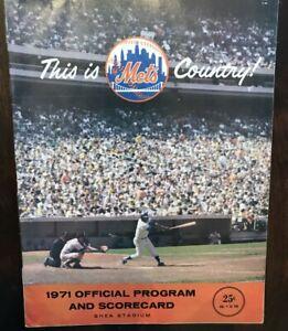 1971 New York Mets Official Program Scorecard Very Good  Cond April 11 v Reds