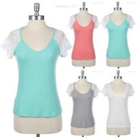 V Neck Top Solid Body with Lace Mesh Short Sleeve Casual Comfortable Easy Wear