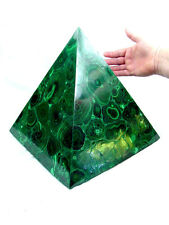 """BUTW Hand Carved Zaire Africa Malachite 12"""" Pyramid Heal Lapidary 0718K abe"""