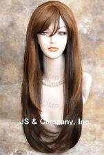Human Hair Blend Long Straight Brown Mix Wig Hair wil 4-27