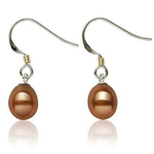 14K White Gold gold Chocolate Pearl Earrings gold Accents Wire Hook Dangles