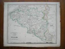 BELGIUM ANTIQUE MAP DOWER OUTLINE COLOUR c.1850