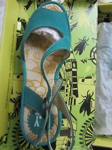 Fly London Women's Open Toe Wedge Sandals Shoes Cupido Verdigris Size 39 (US 8)