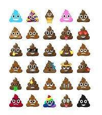 30 PRE-CUT POOP POO EMOJI FACES CUP FAIRY CAKE EDIBLE RICE WAFER PAPER TOPPERS