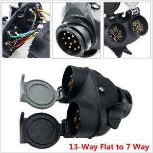 13-Way Pin Flat to 7Way Trailer Plug Socket Adapter RV Boat Change Trailer Hitch