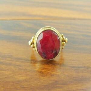 Gold Over Sterling Silver Oval Faceted Ruby Ring - 6.8g
