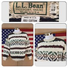 EXC COND VINTAGE LL BEAN MENS LARGE 100% COTTON FREEPORT MAINE USA MADE SWEATER