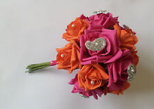 Bridal Bouquet - Hot Pink & Orange Roses and Mango Detailing in Pearl & Diamante