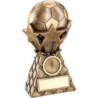 Football/Soccer Trophy - Brz Gold Football And Stars Net Burst Resin (3 sizes)