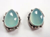 Chalcedony Stud Earrings with Rope Style Accents 925 Sterling Silver