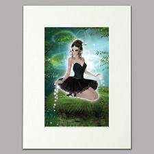 "Meadow Ballerina Print for women in black dress Mounted Wall Art A4 12"" x 16"""