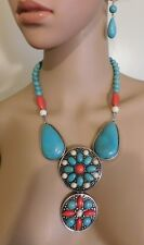 3Pc. Turquoise Color Resin And  Bead  Necklace Jewelry  Earring Set