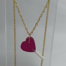 Large Pink Heart Lollipop Lolly Pendant Necklace Resin Kitsch Gold Chain I700