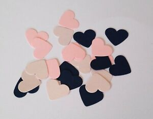 Handmade Heart Table confetti In Blush, Pink And Navy Blue