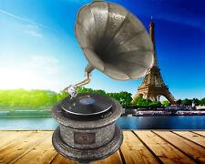 Grammophon graviert ziseliert rund metallic silber optik Geschenk Dekoration